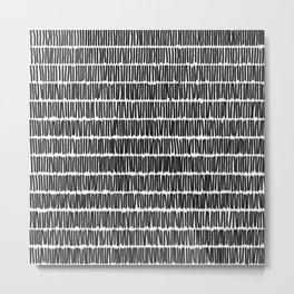 Infinite Lines Pattern - Black Metal Print