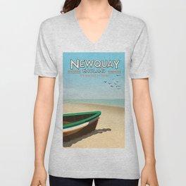 Newquay England beach poster. Unisex V-Neck