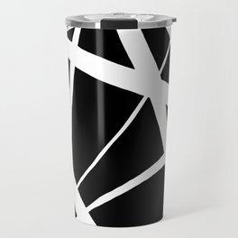 Geometric Line Abstract - Black White Travel Mug
