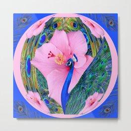 BLUE PINK HIBISCUS FLOWERS & BLUE-GREEN PEACOCK Metal Print
