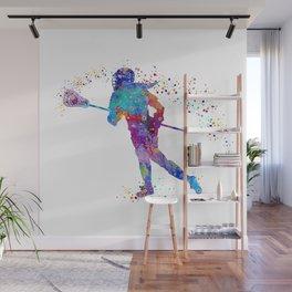 Girl Lacrosse Colorful Watercolor Sports Art Wall Mural
