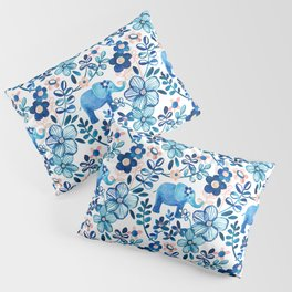 Blush Pink, White and Blue Elephant and Floral Watercolor Pattern Pillow Sham