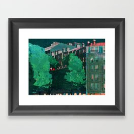 Flying through trees along the street Framed Art Print