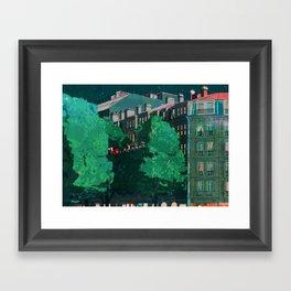 Flying through trees along the street Framed Art Print
