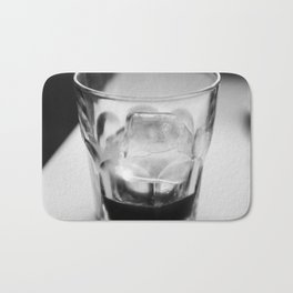 Timeless | Modern abstract black white coffee ice photography Bath Mat