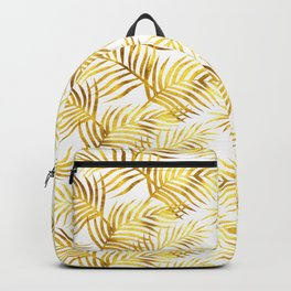 Palm Leaves_Gold and White Backpack