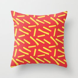 French Fries & Ketchup Pattern Throw Pillow