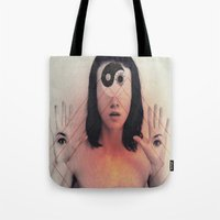 third eye Tote Bags featuring Third Eye by Isaak_Rodriguez