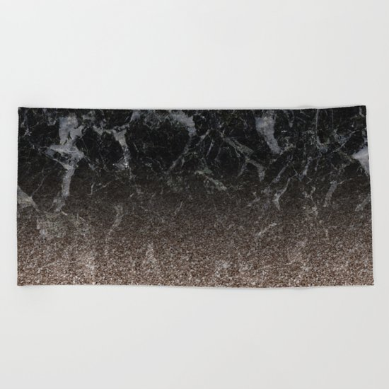 Glitter ombre - black marble & rose gold glitter Beach Towel