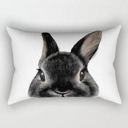 Netherland Dwarf rabbit Black, original painting by MiartDesignCreation Rectangular Pillow