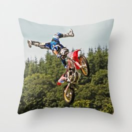 Motocross stuntman Throw Pillow