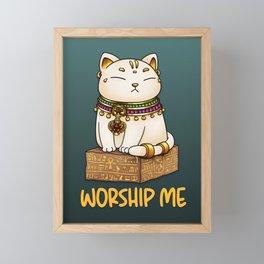 Egypt Cat God Bastet - Worship Me Framed Mini Art Print