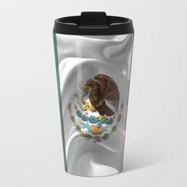 Waving fabic national flag of Mexico Travel Mug