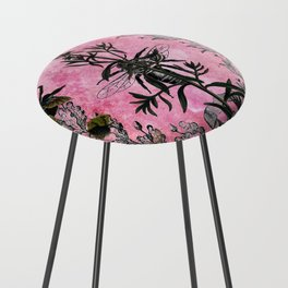 Vintage Bees with Toadflax Botanical illustration collage Counter Stool