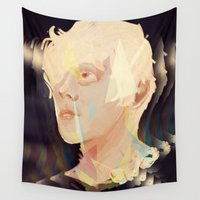 polygon Wall Tapestries featuring Albino Polygon by MousMuse
