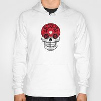 indonesia Hoodies featuring Sugar Skull with Roses and Flag of Indonesia by Jeff Bartels