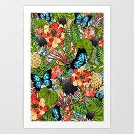 Daintree Rainforest Digital Art | Cairns Port Douglas Queensland Australia Plant Wildlife Collage Art Print