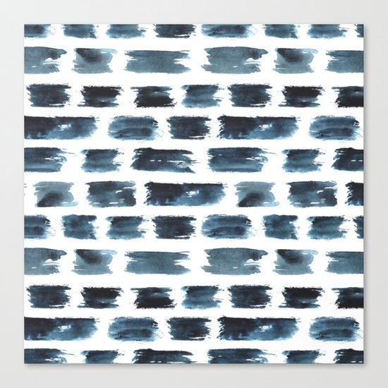 Indigo brushstrokes Canvas Print