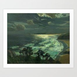Midnight Moonlight, St Ives' Bay nautical coastal landscape painting by Julius Olsson Art Print