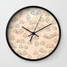 Everything is Peachy Porcupines Wall Clock