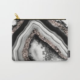 Agate Rose Gold Glitter Glam #4 #gem #decor #art #society6 Carry-All Pouch