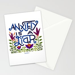 anxiety is A Liar (deep blue) Stationery Cards