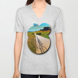 Traces of the tarmac worms Unisex V-Neck