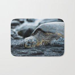 Turtle on a Black Sand Beach in Hawaii Bath Mat