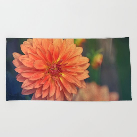 Golden orange dahlia  Beach Towel