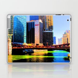 Clark St. Bridge, Chicago (Pop) Laptop & iPad Skin