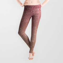Girly Chic Pink Gold Glitter Ombre Leggings