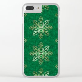 Primitive Gold Snowflakes on Green Clear iPhone Case