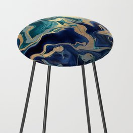 DRAMAQUEEN - GOLD INDIGO MARBLE Counter Stool