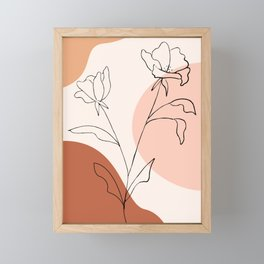 Poppies line drawing Framed Mini Art Print