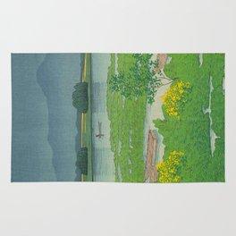 Kawase Hasui Vintage Japanese Woodblock Print Flooded Asian Rice Field Mountain Parallax Landscape Rug