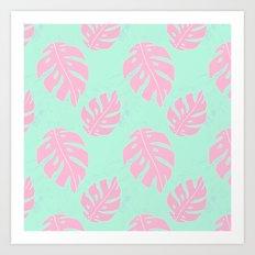 Pink and Mint Monstera Pattern Art Print