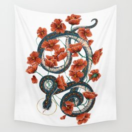 Let Go, Let Grow – Teal Snake in Red Poppies Wall Tapestry