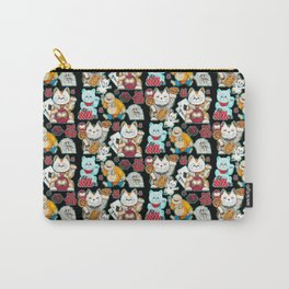 Super Lucky Pattern in Black Carry-All Pouch