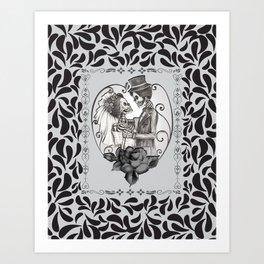 Skeleton Couple Marriage Dance Art Print