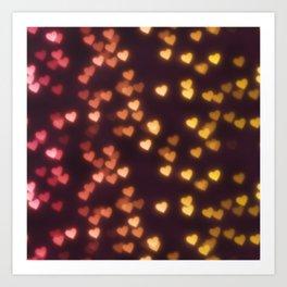 Hearts Bokeh Pattern Art Print