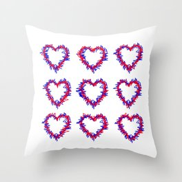 Blue & Red Scribble Heart Pattern Print Throw Pillow