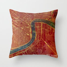 New Orleans Louisiana 1932 vintage old beautiful map for bar decoration Throw Pillow
