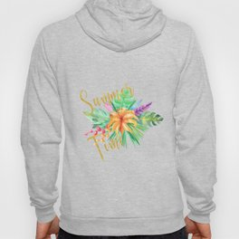 Tropical leaves and flowers summer time gold brush script Hoody