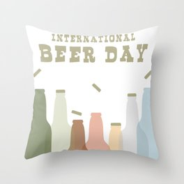 International Beer Day - Cheers for the World Throw Pillow