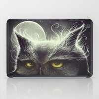 owl iPad Cases featuring Owl & The Moon by Dr. Lukas Brezak