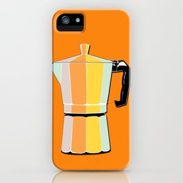 Retro Coffee Pot - Vintage Spring Colors on Morning Sun Background iPhone Case