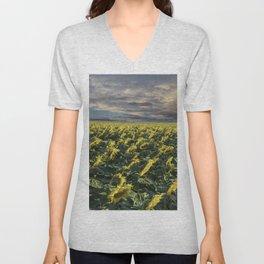 Sunflower Field Denver Colorado Unisex V-Neck