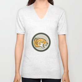 Angry Tiger Head Growling Side Circle Retro Unisex V-Neck