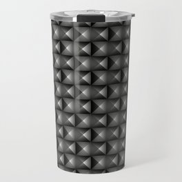 Monochrome woven pattern of metal squares and dark rhombs with volumetric triangles. Travel Mug