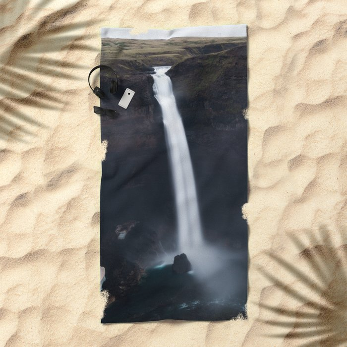 Dark Waterfall Beach Towel